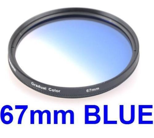 67MM Gradual Color Blue Blending Lens Filter for ANY Camera Lens with 67MM Filter Thread
