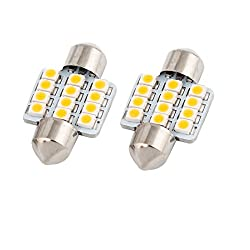 See 2pcs 31mm 3528 LED 12 SMD Warm White Dome Light Details
