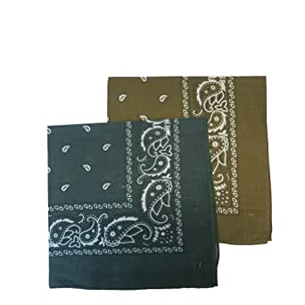 """12 PACK' Bandanas 100% Cotton Head Wrap 22"""" x 22"""" - 6 Hunter Green and 6 Brown in 1 pack"""