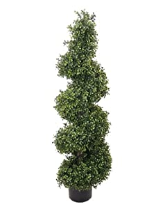 4Ft  Artificial Silk Boxwood wide Spiral Topiary Tree In Pot