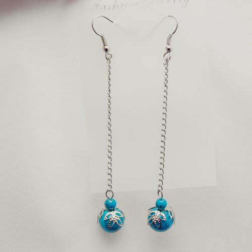Jewellery Chic Boutique Tibetan Silver Turquoise Stone Beads Drop Earrings, Length of Earrings: 8.5cm(include hook), Turquoise Stone Beads Diameter: 1cm