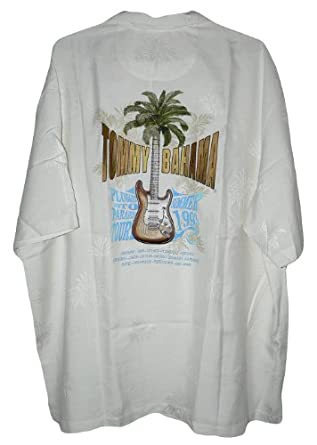 Tommy Bahama Embroidered Plugged Into Paradise Tour Silk Camp Shirt (Color: Optic White, Size XXL)