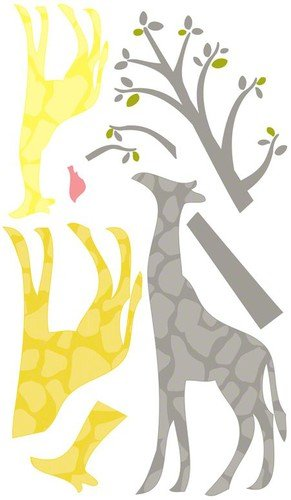 Oopsy Daisy 54 by 30-Inch Peel and Place Modern Giraffe Yellow Medium by Stacy Amoo Mensah, Medium