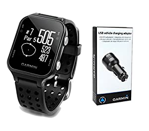 Garmin Approach S20 Golf GPS Watch (Black) with USB Car Charge Adapter | Activity Tracker, Smart Notifications & 40,000+ Worldwide Courses