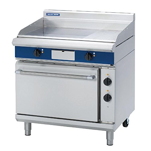 Blue Seal Evolution Chrome Heavy Duty 1/3 Ribbed Griddle Static Oven Electric 900mm / Commercial Kitchen Restaurant Cafe
