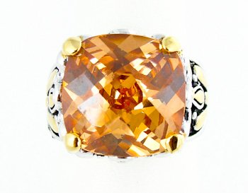 Gold Silver Tone Yellow Topaz November Birthstone Designer Replica Ring Size 8