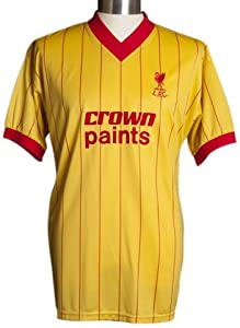 Score Draw Official Retro Liverpool 1982 Away Py Shirt - Yellow Large by Score Draw Official Retro
