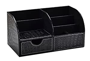Easypag desk organizer 7 compartment pu - Black leather desk organizer ...