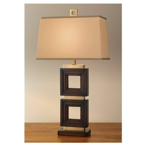 Murray Feiss 9879CBM Independents Table Lamp, Coffee Bronze with Mahogany Finish and Champagne Silk Fabric Shade