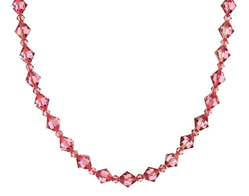 Sterling Silver Swarovski Elements 8mm and 4mm Rose Colored Bicones Necklace, 50