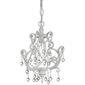 Small accent chandelier white decorative for Hanging ornaments from chandelier