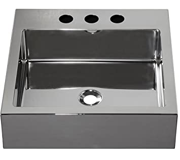 "Barclay Products 7-353SP Madison Square Stainless Steel Above Counter Basin with 8"" WS, Polished Stainless"