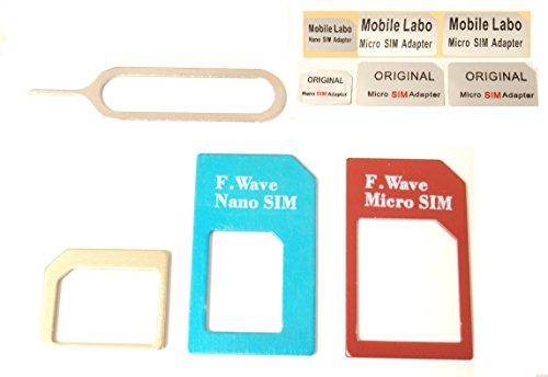 F.Wave 【Amazon即日出荷】3色カラフルなアルミニウム製 NanoSIMからMicroSIM、NanoSIMからSIMカード、MicroSIMからSIMカードに変換するアダプタとSIMリリースピン、各カット済みシールの7点セット FuturePlus Original