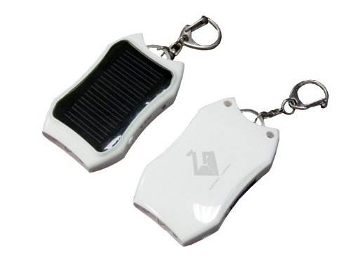 Greener Visions Solar Powered Keychain Charger For Iphone 5, 5S, 4, Cellphones, Tablets, Pda'S, And Cameras Also Has A Led Flashlight Built In Front. White Rhino Color
