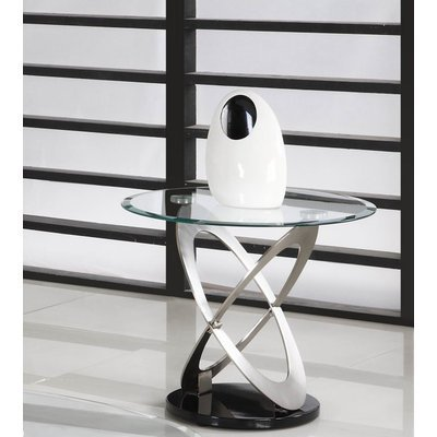 Image of Homelegance Firth Round Glass End Table in Chrome & Black Metal (3401-04-G)