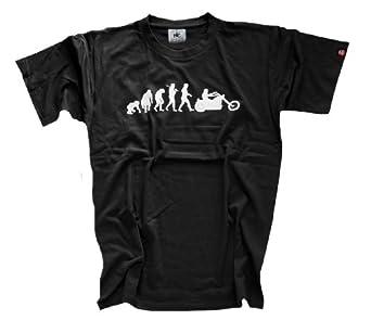 Shirtzshop Erwachsene T-Shirt Original Chopper Motorrad Evolution, Schwarz, XXXL, sshop-evochopp-t