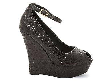 Glitterati Black Glitter Womens Peep Toe Platform Wedge Shoes Size UK 4