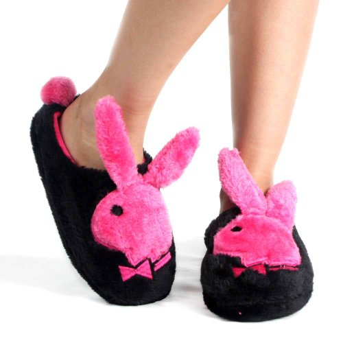 Cheap Black Pink Playboy Black Bunny Hopper Slippers Women (B00658RWLQ)