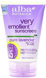 Alba Botanica Very Emollient Sunscreen, Pure Lavender SPF 45, 4 Ounce Tube