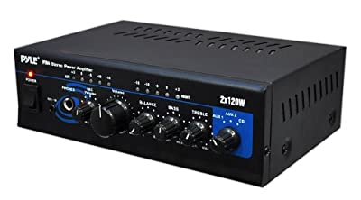 Pyle Home PTA4 Mini 2x120 Watt Stereo Power Amplifier with AUX/CD Input by Pyle Home