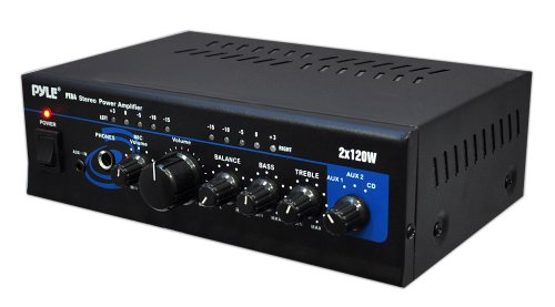 Pyle Home Pta4 Mini 2X120 Watt Stereo Power Amplifier With Aux/Cd Input
