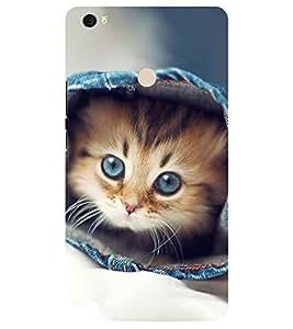 Chiraiyaa Designer Printed Premium Back Cover Case for Xiaomi Mi Max (cat cute hiding) (Multicolor)