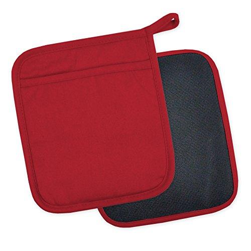 DII 100% Cotton, Machine Washable, 425°F Heat Resistant, Everyday Kitchen Basic, Neoprene Pot Holder, 7 x 8, Set of 2- Tango Red