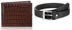 Rico Sordi Leather wallet & leather Belt(design 5) (Black) - RSMW_38_40_WB