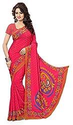 Design Willa Smooth feel Art crepe Sari (DWPC057,Red)