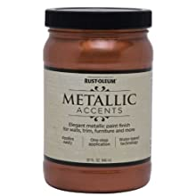 Rust-Oleum Metallic Accents 253536 Decorative 32-Ounce Quart Water Based One Part Metallic Finish Paint, Copper Penny