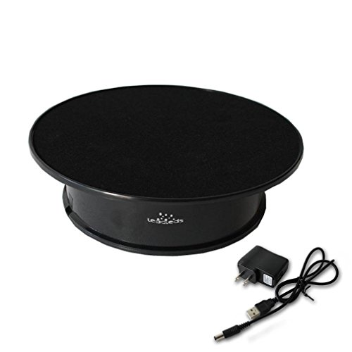 Leadleds Black Velvet Top Electric Motorized Rotating Display Turntable for Model Jewelry Hobby Collectible Home Christmas Decor - With 110v Ac Adapter (Rotating Table Display compare prices)