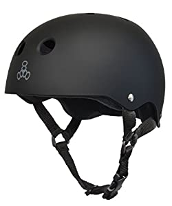 Triple 8 Brainsaver Rubber Helmet with Sweatsaver Liner (Black Rubber, Black Liner, Small)