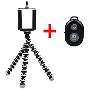 LANZHD Black / White Mini Octopus Style Portable and Adjustable for iphone 4/4s/5 ,Camera Adjustable Tripod Stand with Mount / Holder Camera + Remote Shutter