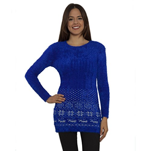Samshine Women's Long Sleeve Shaggy Mohair Chenille Knit Snowflake Sweater Dress (Royal Blue, S/M)