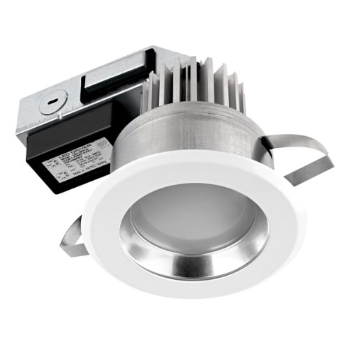 Globe Electric 90074 4 Inch Recessed Lighting Kit, Regressed Led Integrated, Ic Rated And Energy Star Certified, White Finish With Chrome Reflector
