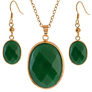 "Stunning Jadelite Faceted Green Color Oval 1"" Pendant + 1/2"" Earrings Set"