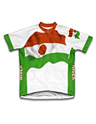 Niger Flag Short Sleeve Cycling Jersey for Women