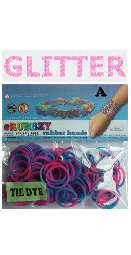 Rubbzy 100 pc Special Edition Tie Dye/Glitter Rubber Bands w/ 4 Connectors (#135) - 1