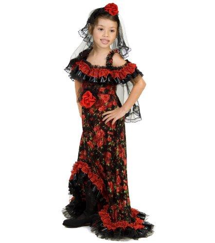 Big Girls' Red Rose Spanish Dancer Costume Medium (7-8) by Princess Paradise (Spanish Dancer Kids Costume)