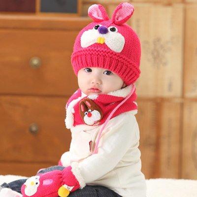 Cappello invernale per bambino in lana Baby-Cappello lavorato a maglia,, sciarpa e muffole Three-piece Set Rosa rosso