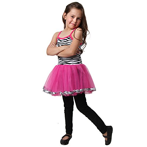 Girls Hot Pink & Black Zebra Tutu Dress Size 2/4