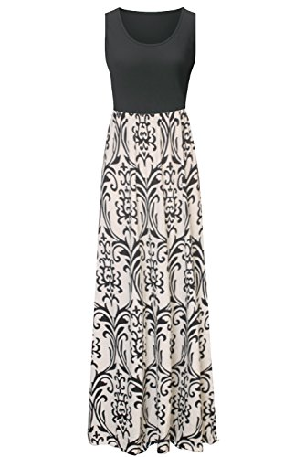 Zattcas Womens Summer Contrast Sleeveless Tank Top Floral Print Maxi Dress (Small, Black Taupe) (Tank Maxi Dresses For Women compare prices)