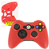 Assecure Silicone Skin Protective Cover for Microsoft Xbox 360 Controller Rubber Bumper Case (Red)