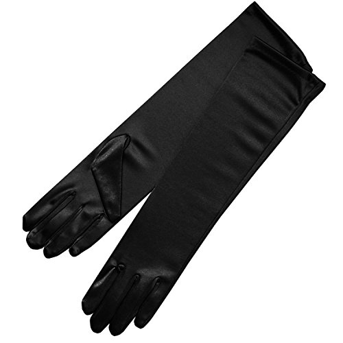 ZaZa Bridal Shiny Stretch Satin Dress Gloves Below-The-Elbow Length 8BL-Black