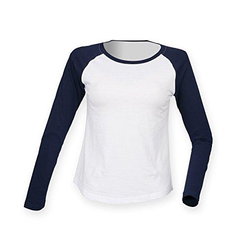 Skinnifit - Maglietta a Manica Lunga Baseball - Donna (S) (Bianco/Blu Oxford)