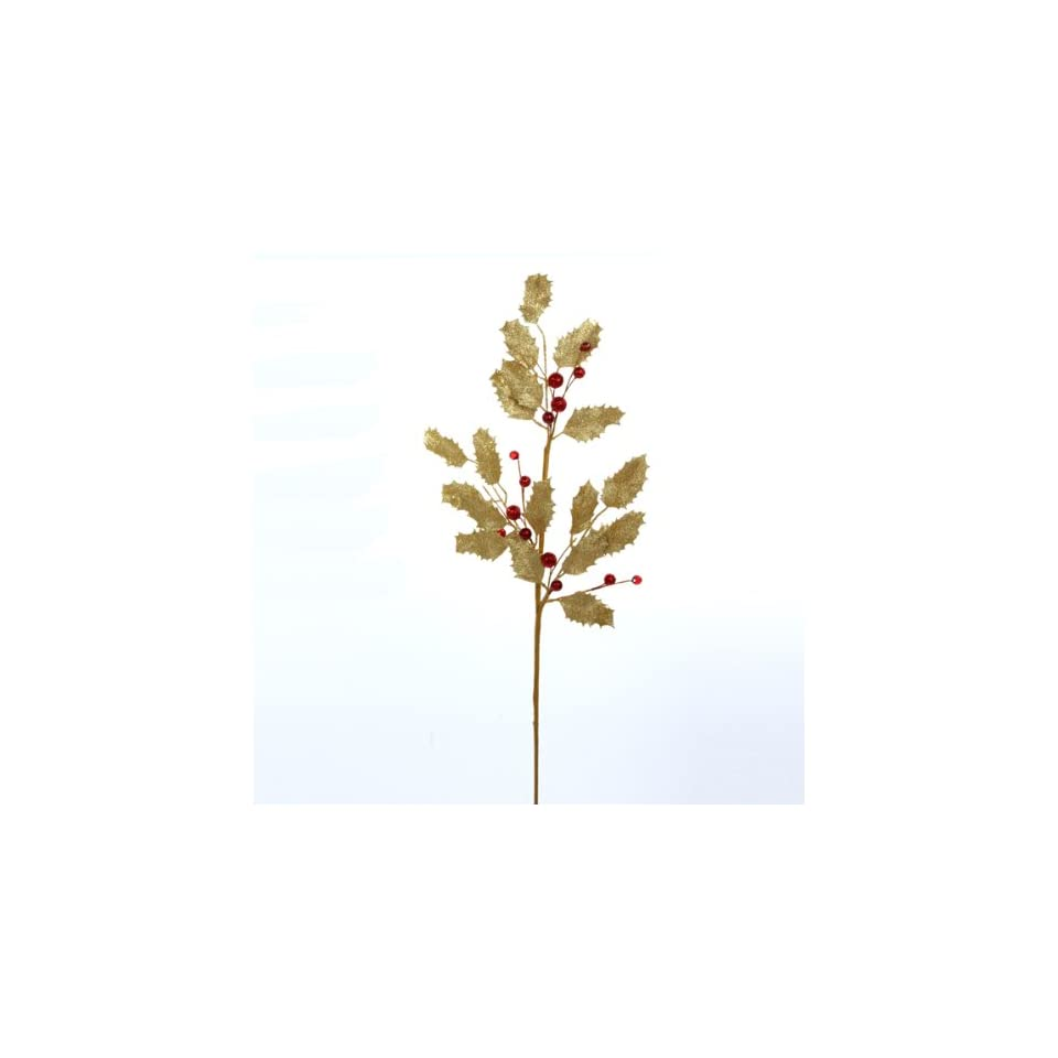 12 Winter Solace Gold Holly Leaf and Red Berry Artificial Christmas Sprays 25