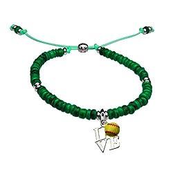 Natural SportBEAD Adjustable Bracelet - Love Softball Charm-Turquoise