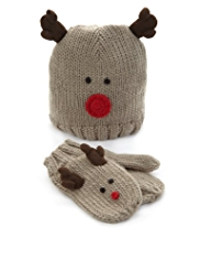 2 Piece Reindeer Knitted Hat & Mittens Set