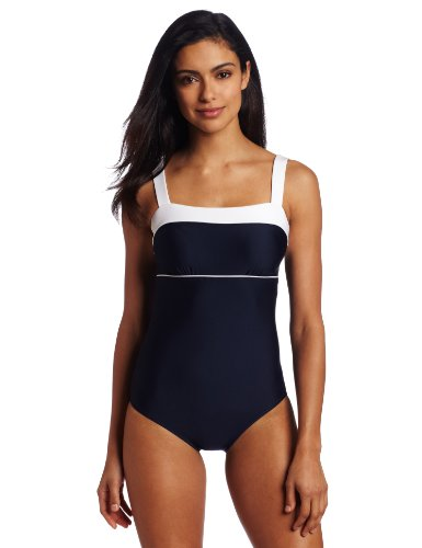 Nautica Women's Classic Solids One Piece Swimsuit with Shoulder Support, Navy, 12