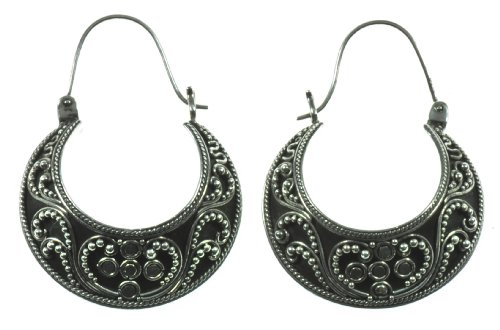 Silver Half Moon Earring Jewelry of Bali